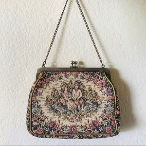 vintage 1960s embroidered floral hand purse